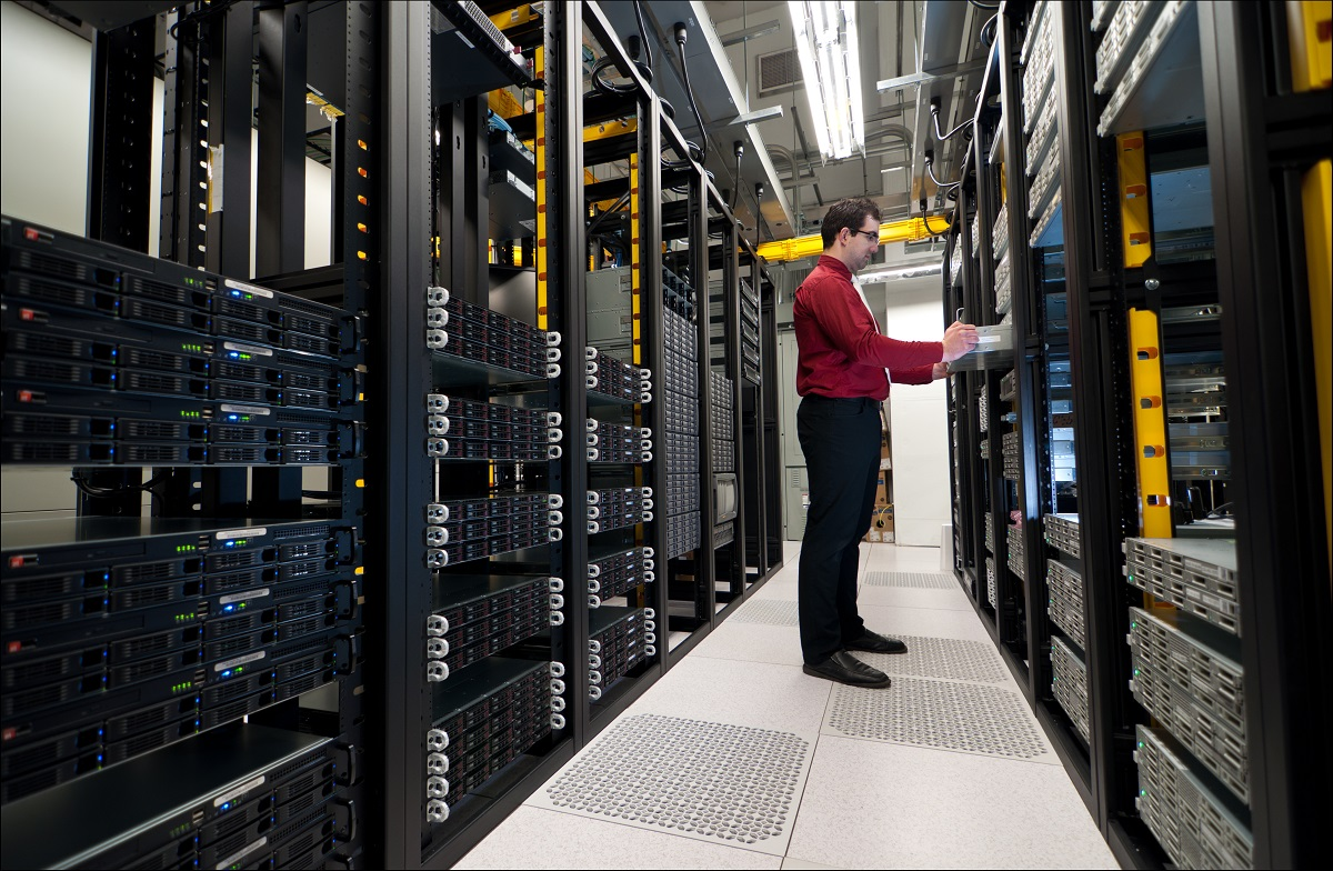 IT admin inside the server room