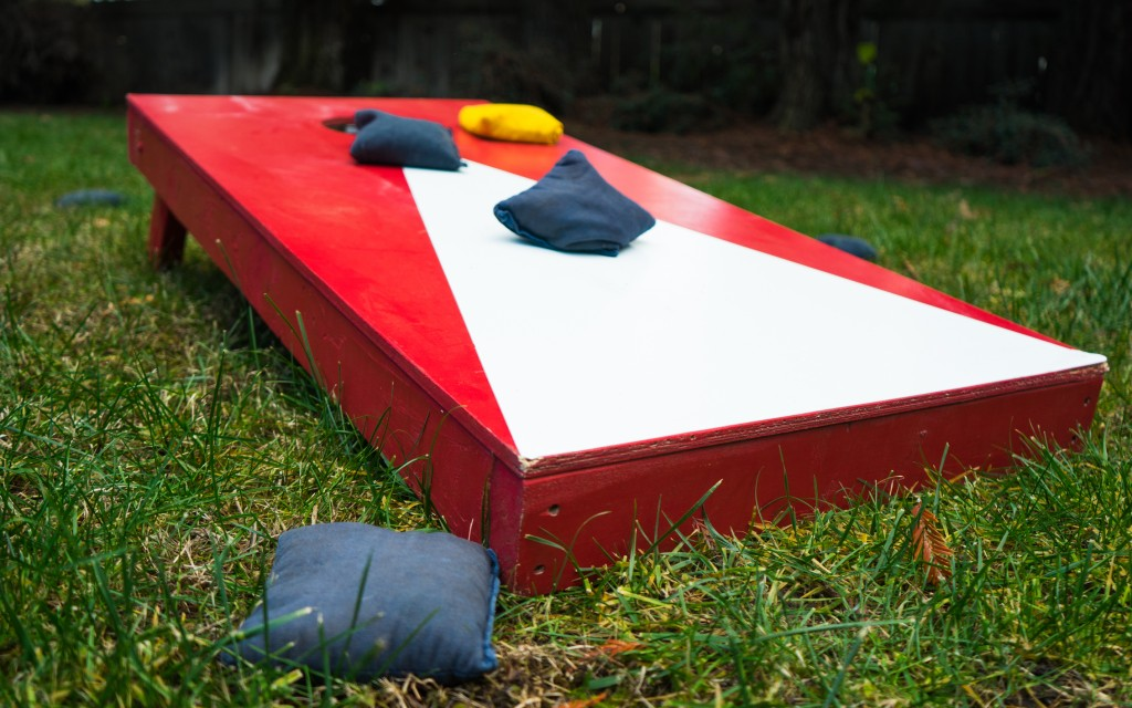 Red and white cornhole