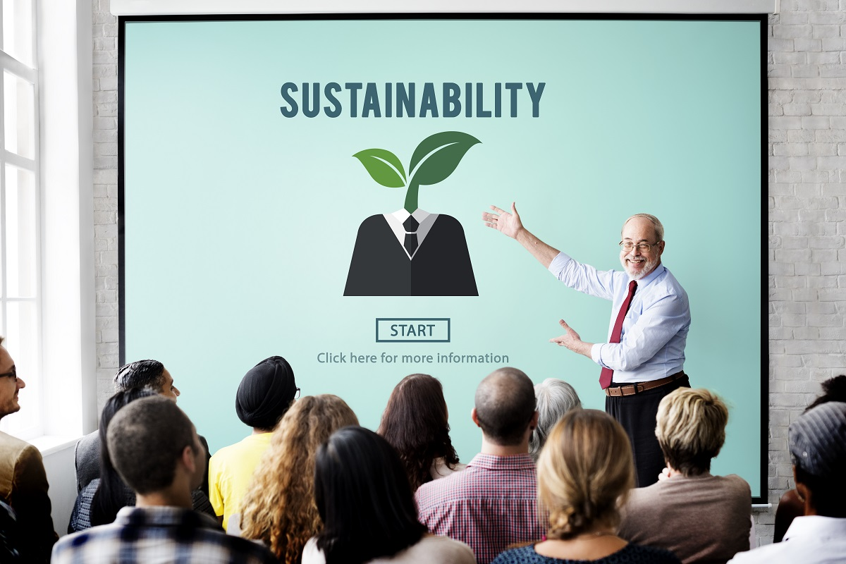 businessman presenting a sustainability plan