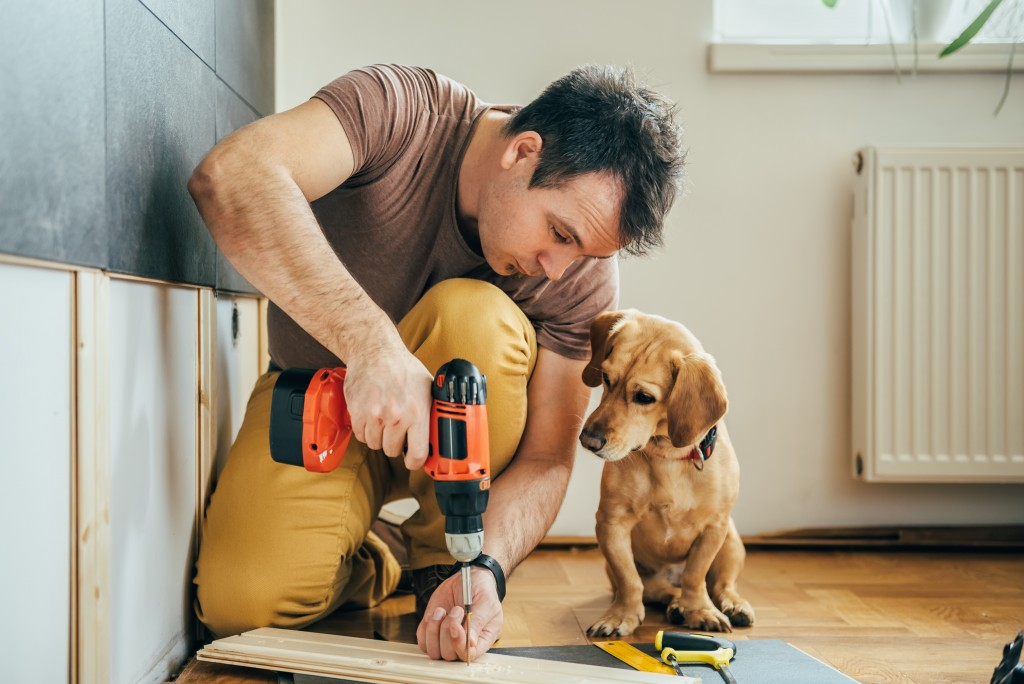 man with his dog doing construction work