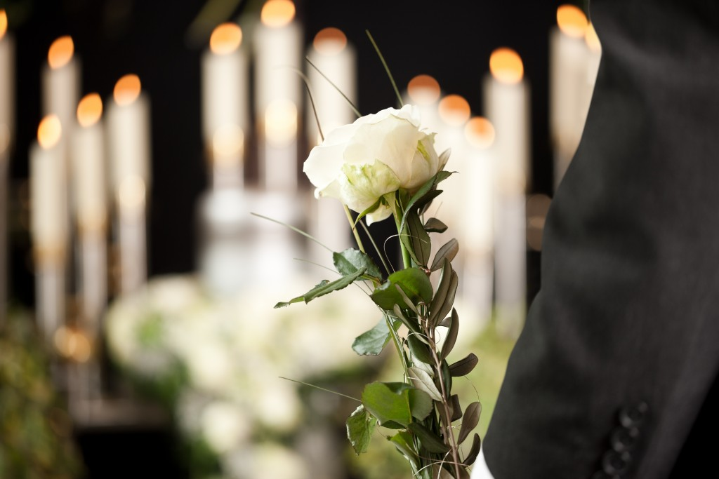 White rose in funeral