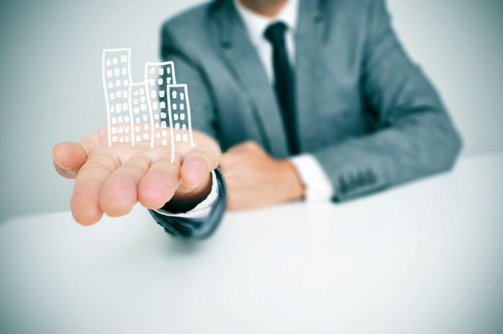 businessman and business building illustration