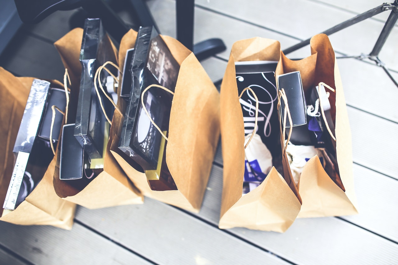 products in paper bag