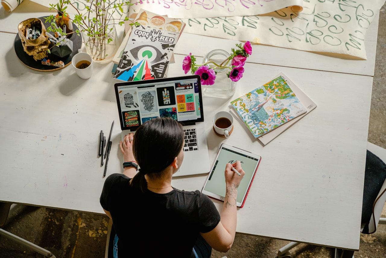 woman making digital art